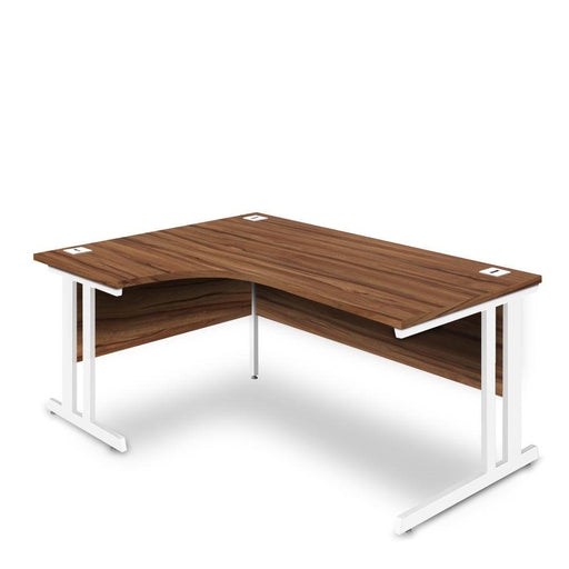 Aspire Ergonomic Left Hand Corner Desk - 1800mm Wide - 800-1200mm Deep - Walnut Top - White Legs