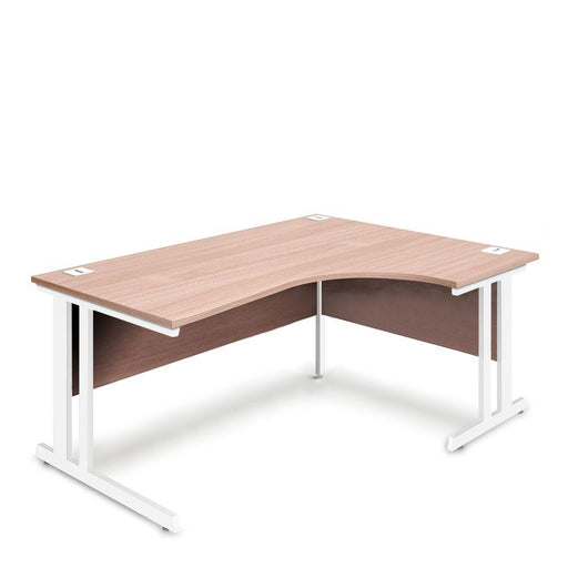 Aspire Ergonomic Right Hand Corner Desk - 1800mm Wide - 800-1200mm Deep - Beech Top - White Legs