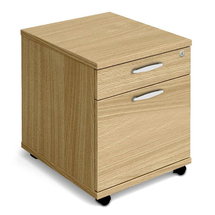 Aspire Mobile Pedestal - 500mm Depth - 510mm High - 2 Drawer - Oak