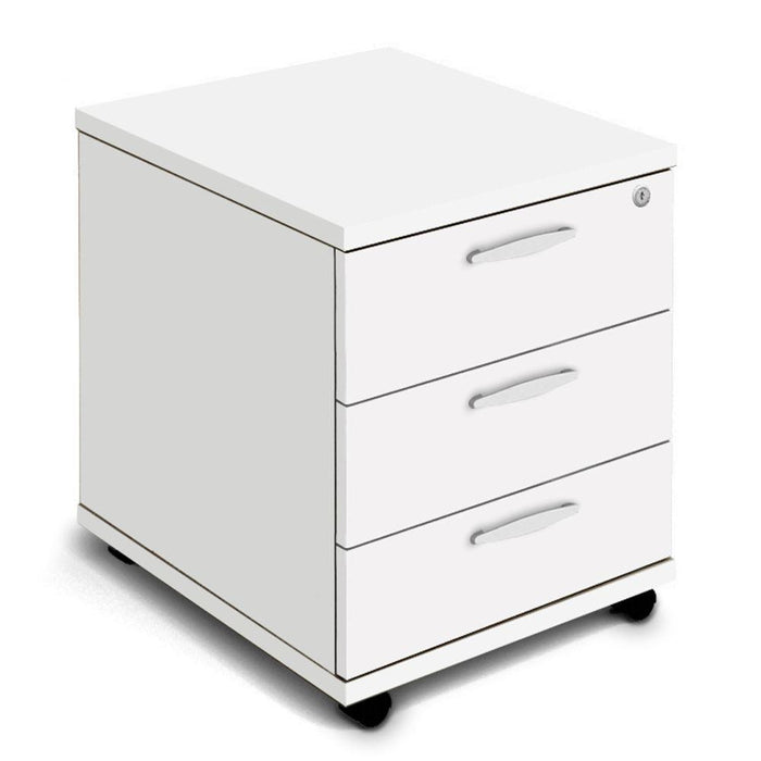 Aspire Mobile Pedestal - 500mm Depth - 510mm High - 3 Drawer - White