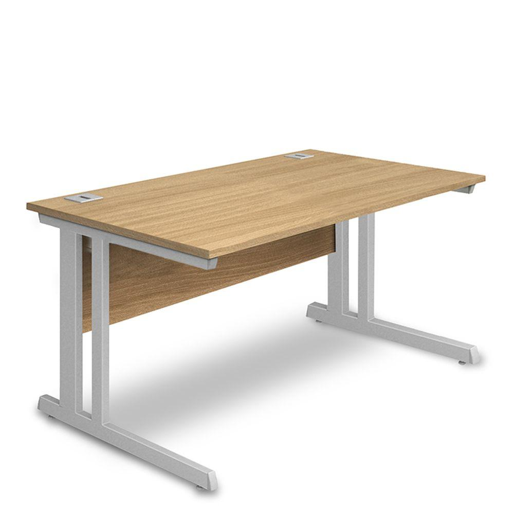 Aspire Rectangular Desk - 1000mm Wide -  600mm Deep - Oak Top - Silver Legs