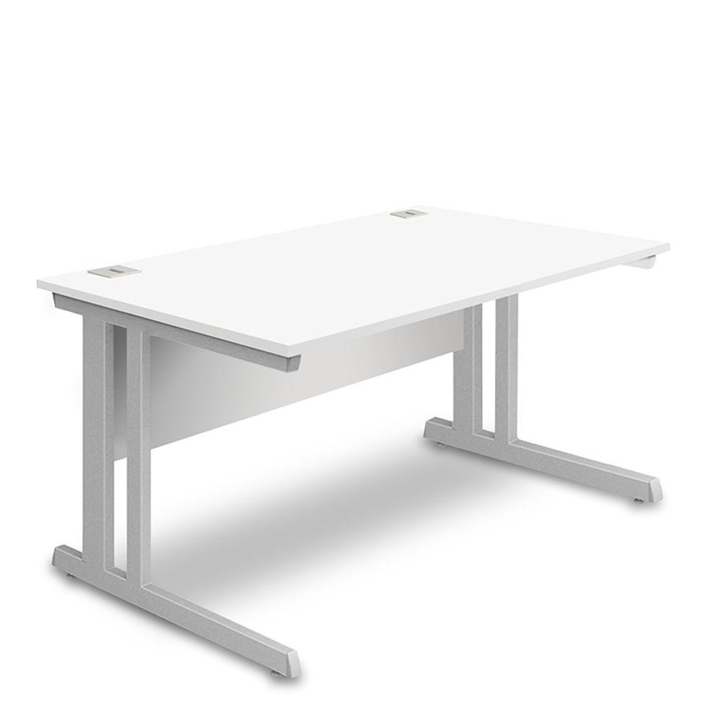 Aspire Rectangular Desk - 1200mm Wide -  800mm Deep - White Top - Silver Legs