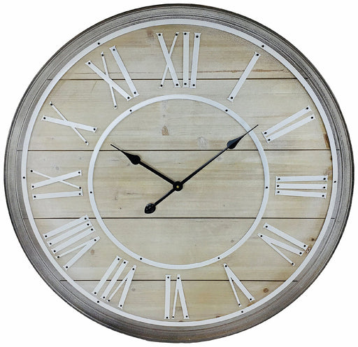 Wooden Wall Clock With White Roman Numerals 80cm