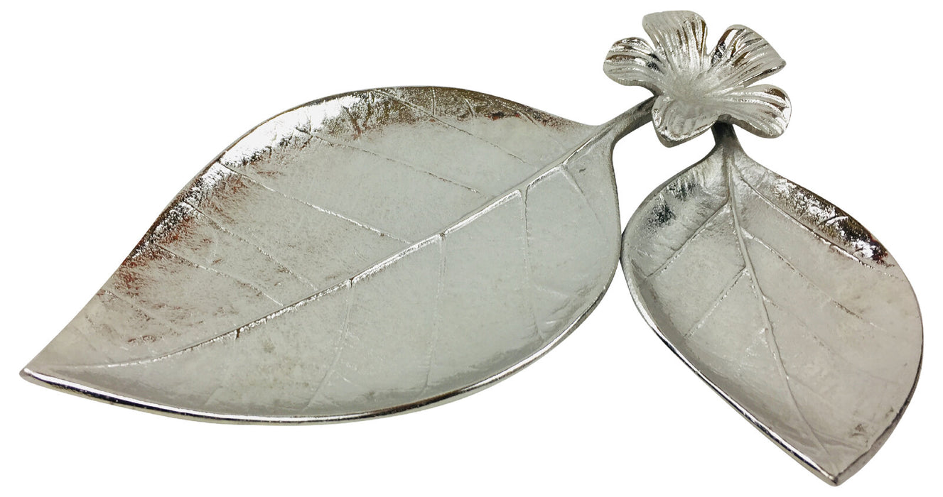 Metal Leaf & Flower Tray Ornament 31cm