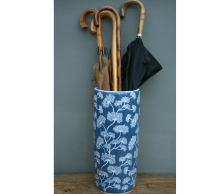 Ceramic Embossed Umbrella Stand, Blue/White Floral Design