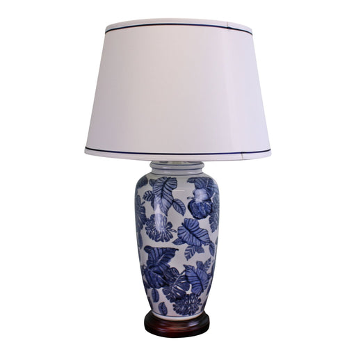Blue & White Ceramic Lamp with Wooden Base 70cm