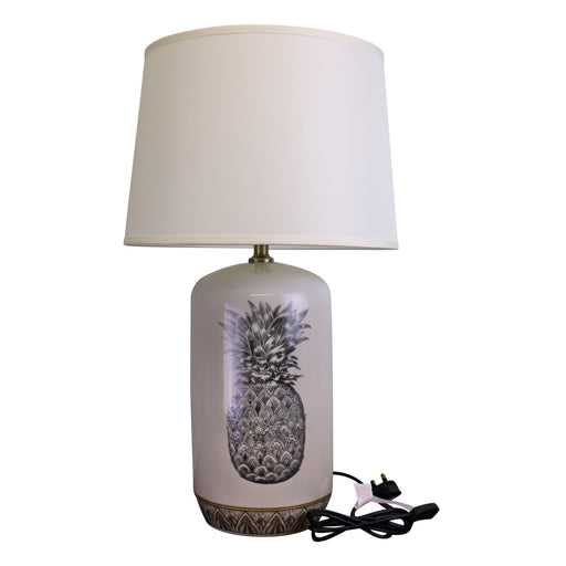 Black & White Ceramic Lamp with Pineapple Design 69cm