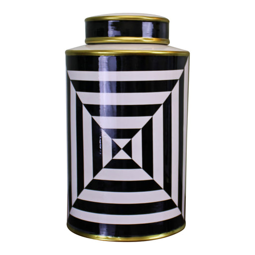 Black/White/Gold Ceramic Lidded Vase, Geometric Design 29cm