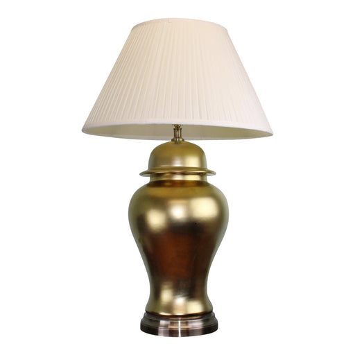 Large Golden Ceramic Lamp with Metal Base 85cm