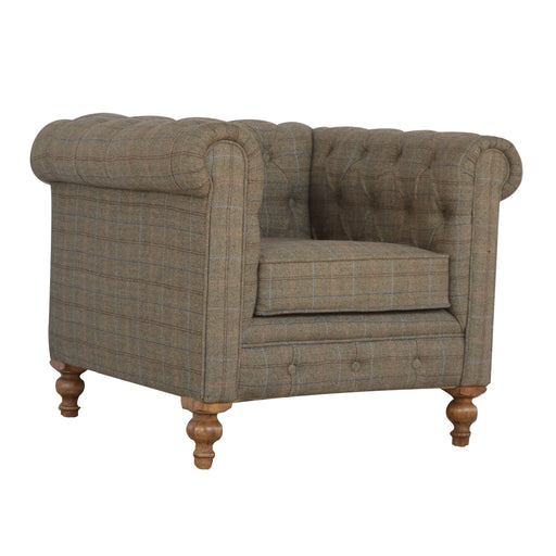 Multi Tweed Single Seater Chesterfield Armchair