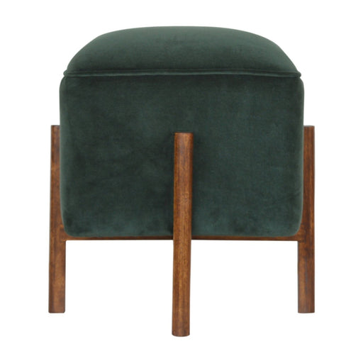 Emerald Velvet Footstool with Solid Wood Legs