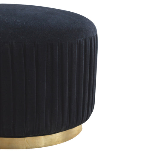 Black Velvet Footstool with Gold Base