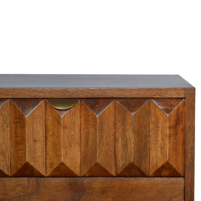 Solid Wood Bedside with Carved Drawer Front