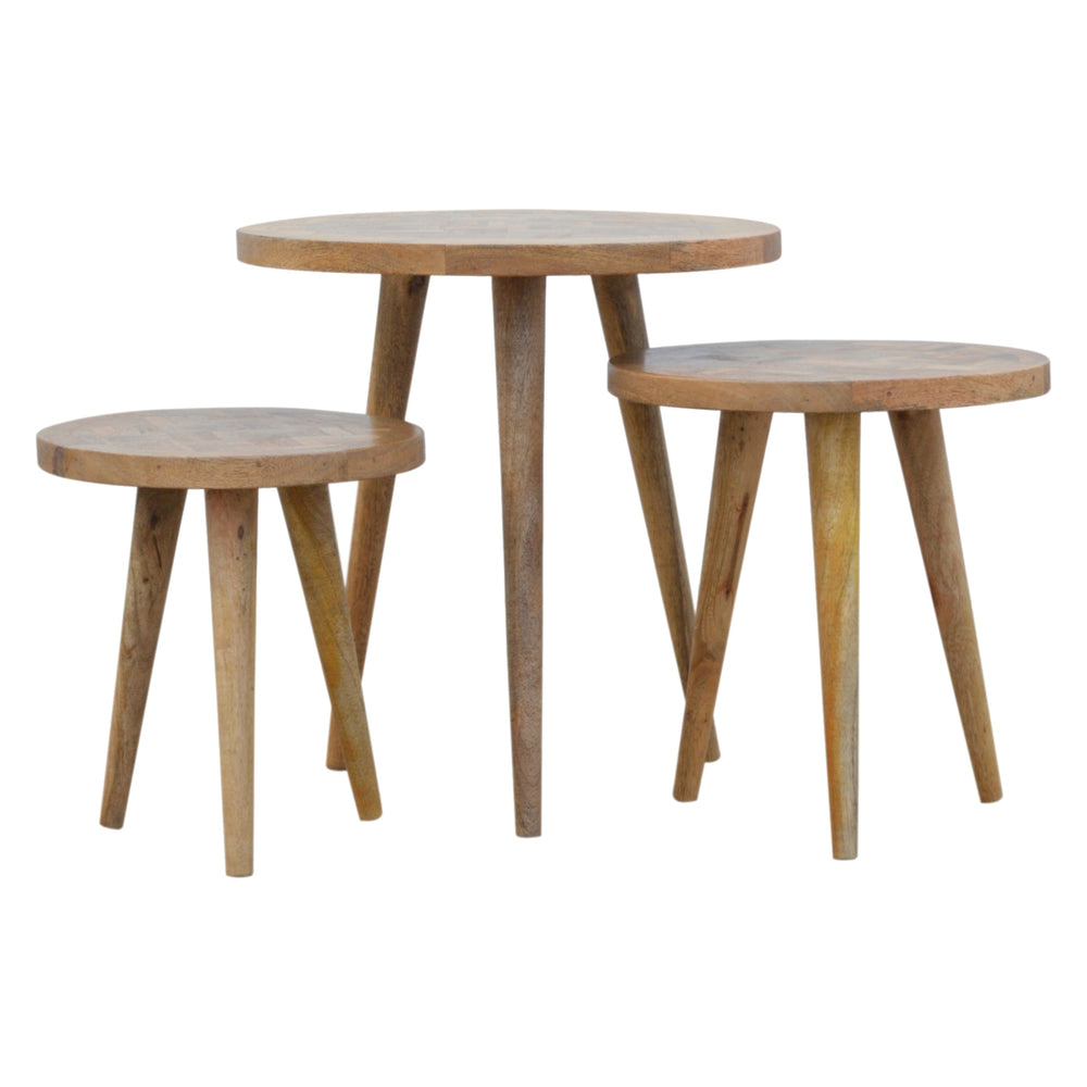 Nordic Style Set of 3 Nesting Tables with Patchwork Patterned Tops