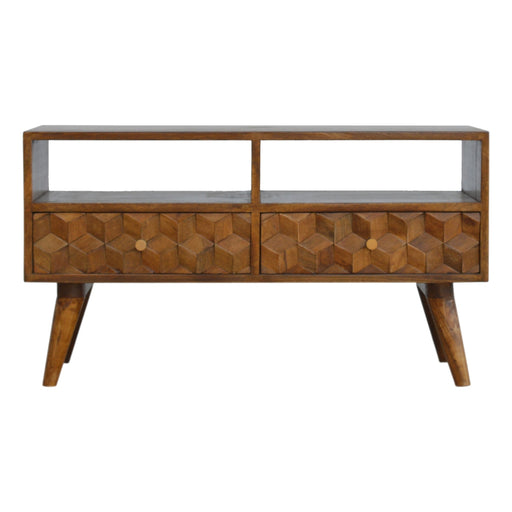 Chestnut Cube Carved Media Unit with 2 Drawers