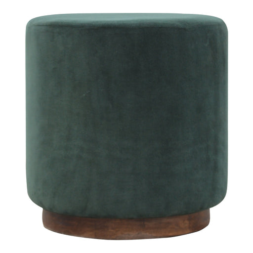 Emerald Green Velvet Footstool with Gold Base
