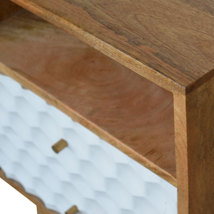 Honeycomb Carved Bedside with 2 Drawers and Open Slot