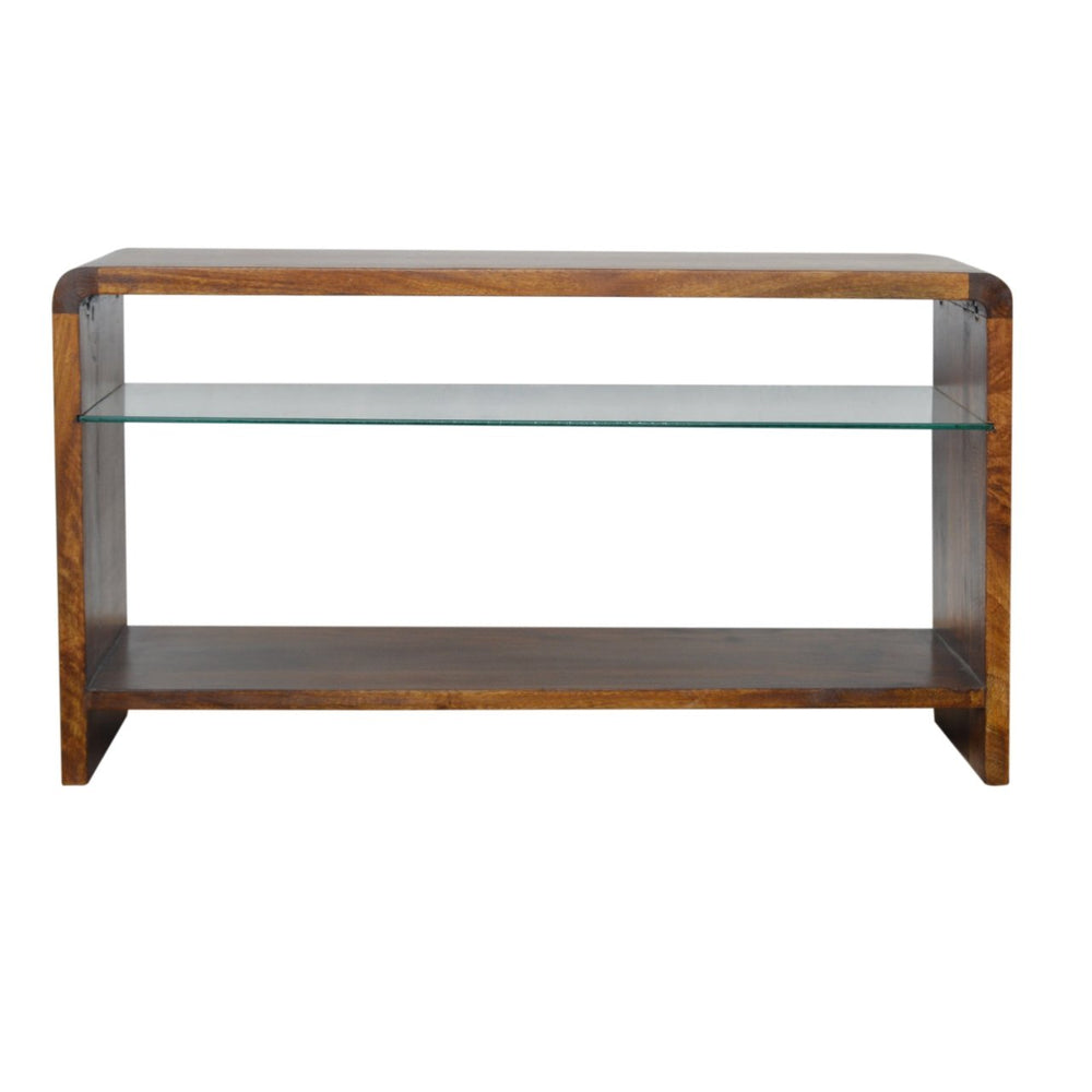 Chestnut Glass Shelf Media Unit