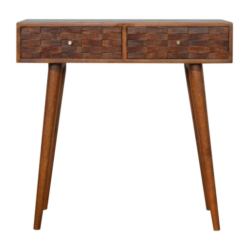 Tile Carved  Chestnut Console Table
