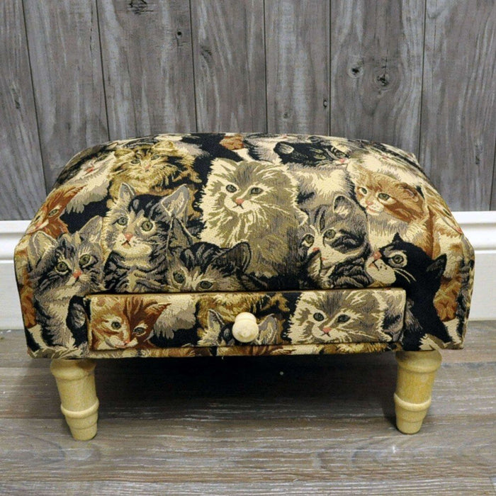 Cat Fabric Footstool with Drawer