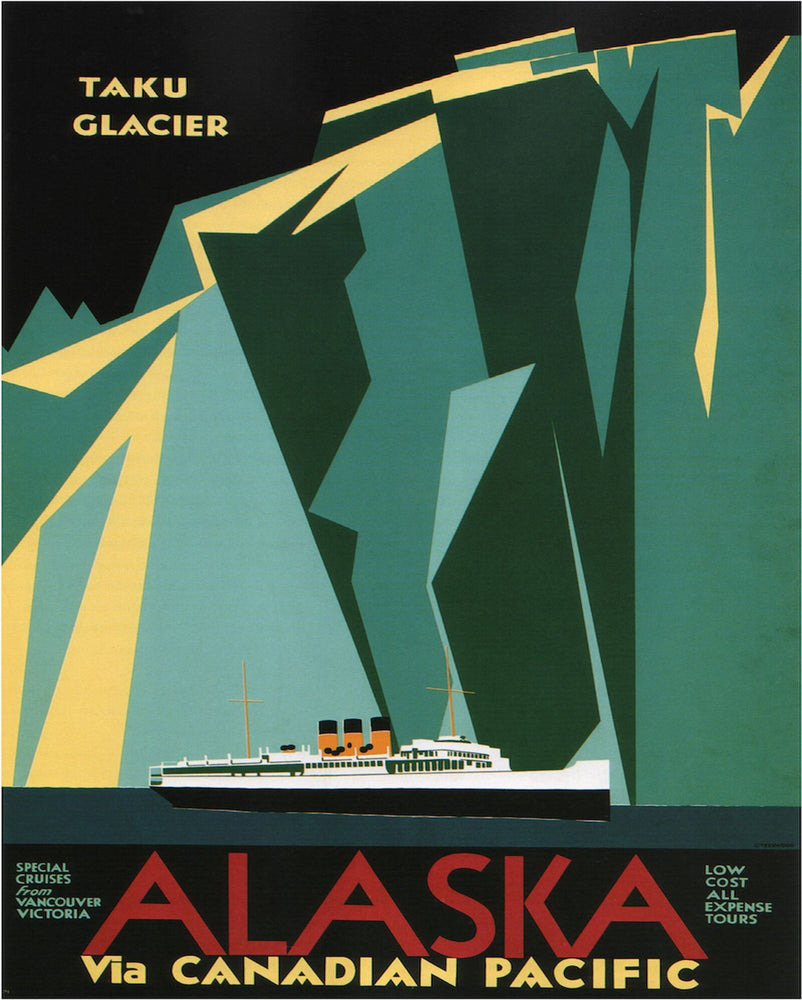 Vintage Metal Sign - Retro Advertising - Alaska Via Canadian Pacific Travel