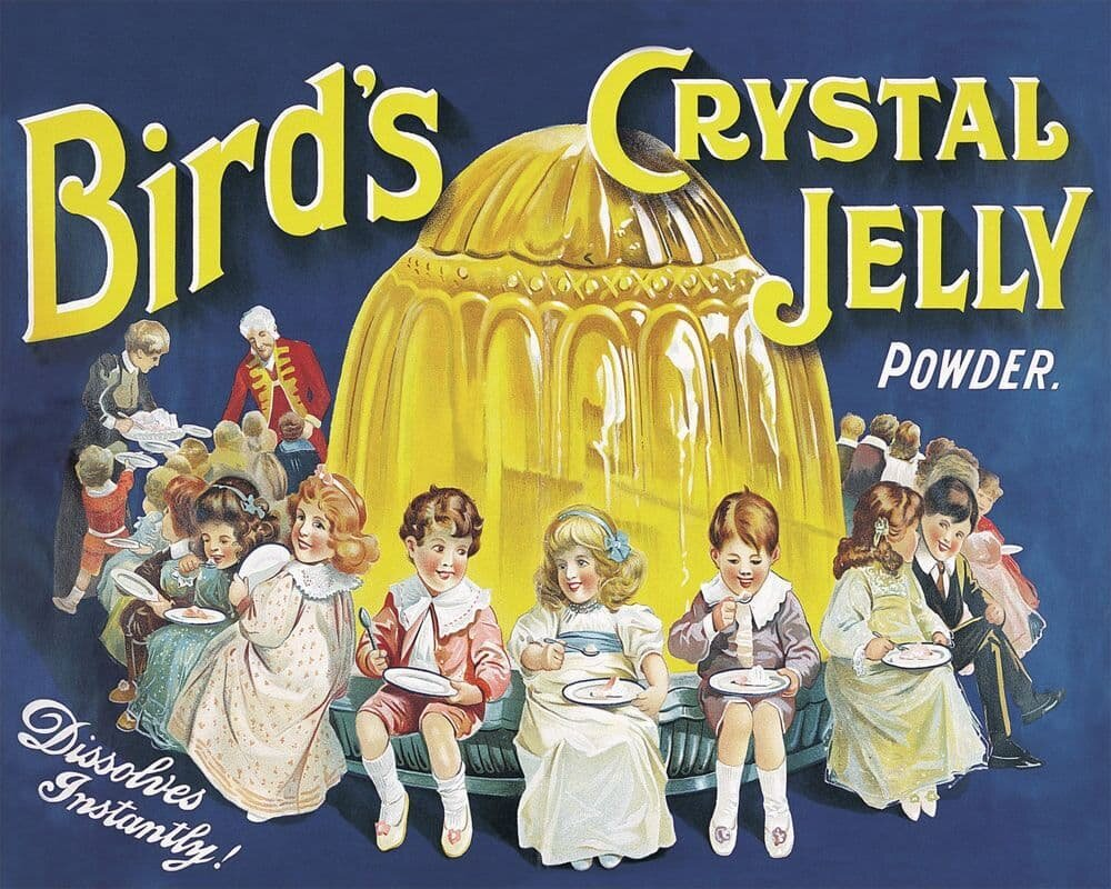 Vintage Metal Sign - Retro Advertising - Birds Crystal Jelly Powder