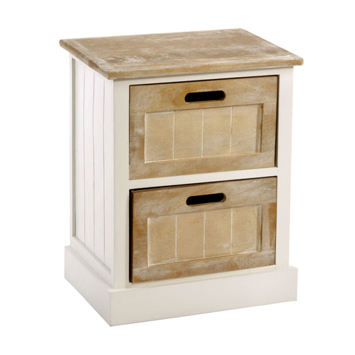 White Wooden Bedside Table 2 Drawer 38 x 28 x 48cm