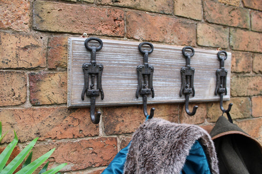 Rustic Cast Iron and Wooden Wall Hooks, Bottle Openers