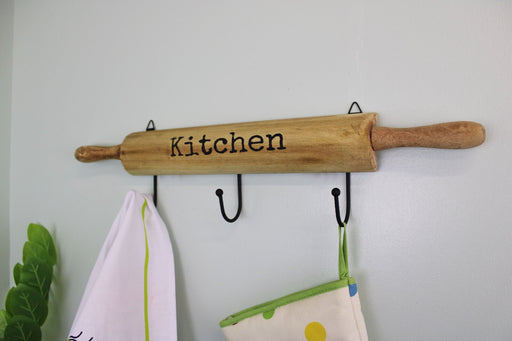Kitchen Wall Hooks, 4 Hooks with a Rolling Pin Design
