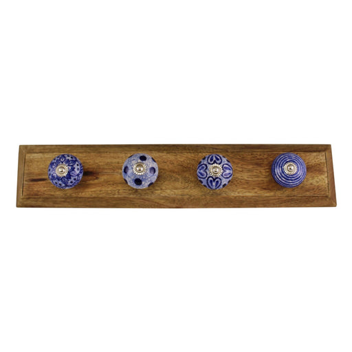 Blue & White Decorative Coat Hooks On Wooden Base
