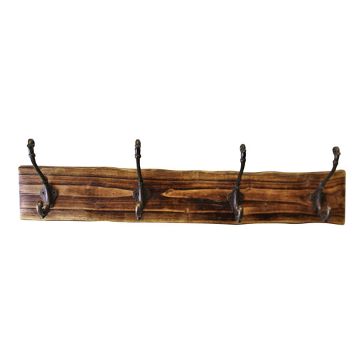 4 Double Coat Hooks On Natural Wooden Back