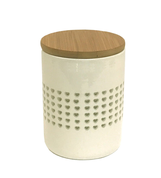 Heart Cut Out Canister/Jar With Wood Lid