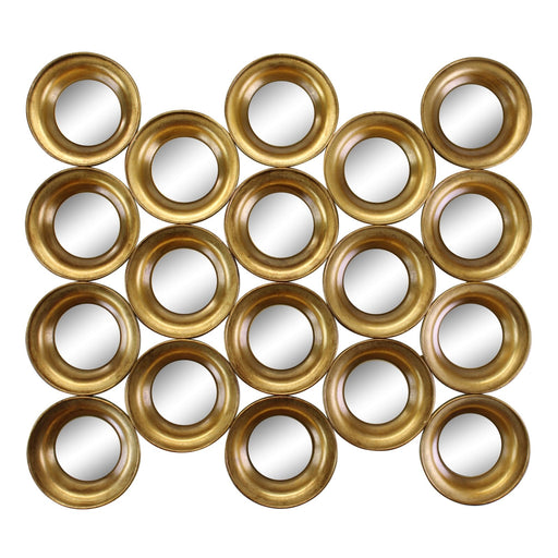 Gold Metal Multi Circle Wall Mirror 76cm.