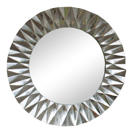 Silver Metal Circular Mirror With Geometric Design 60cm