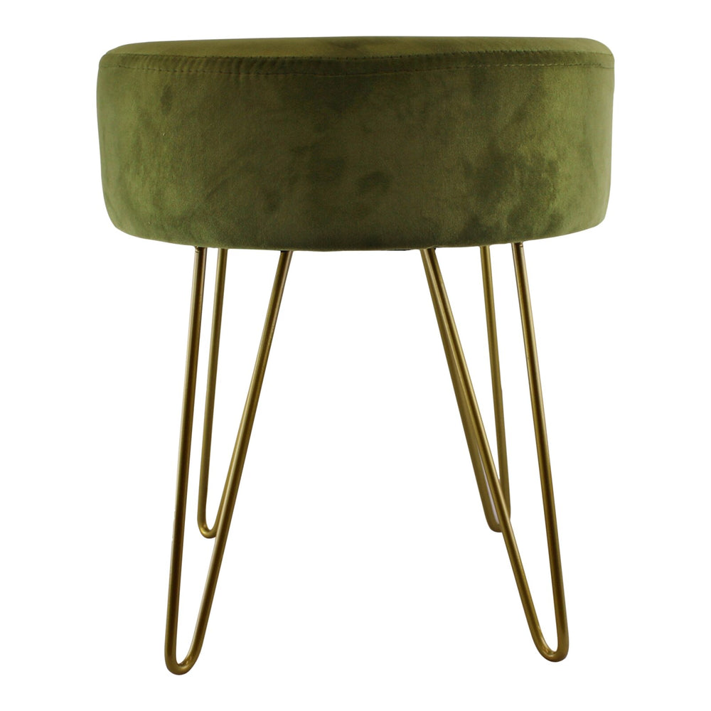 Green Velvet Gold Wire Leg Stool 35x40cm