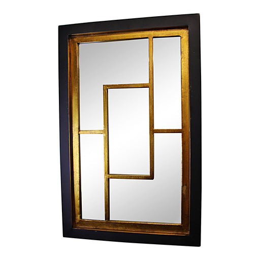 Geometric Black & Gold Wall Hanging Mirror