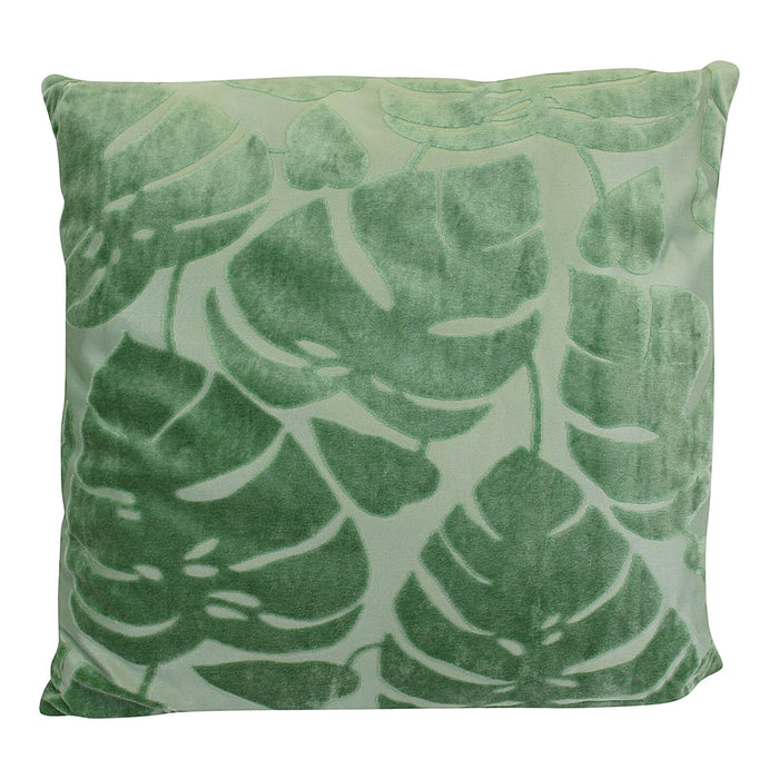 Green Embossed Leaf Cushion, 42cm