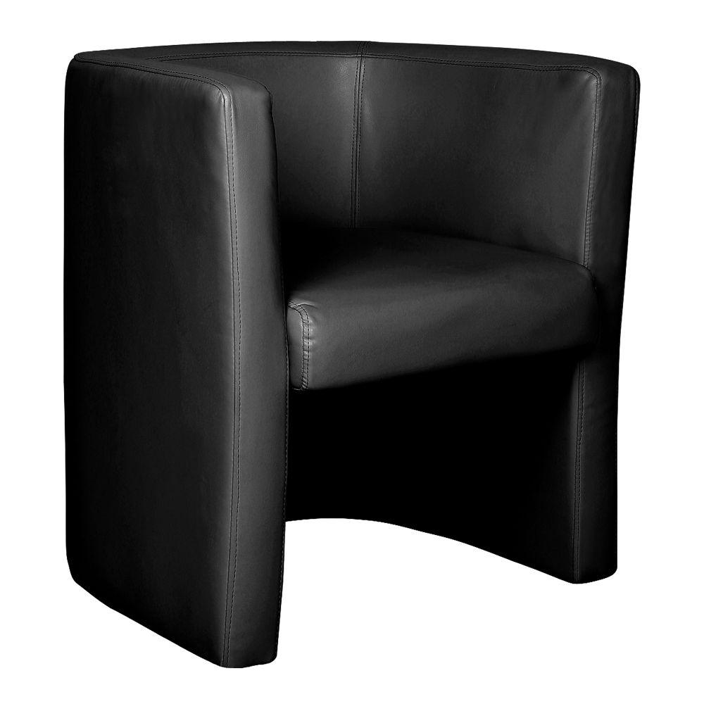 Milano Stylish & Modern High Back Leather Faced Tub Chair - Black