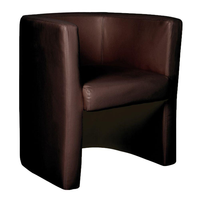Milano Stylish & Modern High Back Leather Faced Tub Chair - Brown
