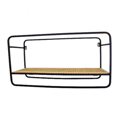 Large Wall Hanging Shelf Unit in Metal Weave Effect
