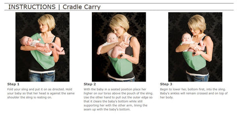 Babywearing Sling Cradle Carry Instructions for a 0-4 month Old Baby