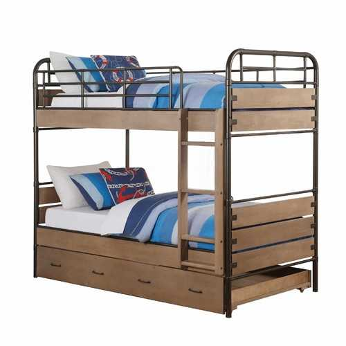 "79"" X 42"" X 71"" Antique Oak And Gunmetal Twin Over Twin Bunk Bed"