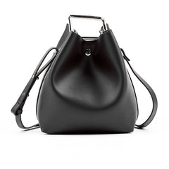 ADA Tote Bucket Bag with Metal Handle - Black