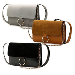 AIMEE Round Buckle Shoulder Bag (Small) - Black, Tan, Grey