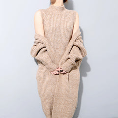 BEC Knit Tank Dress & Cardigan Set- Latte