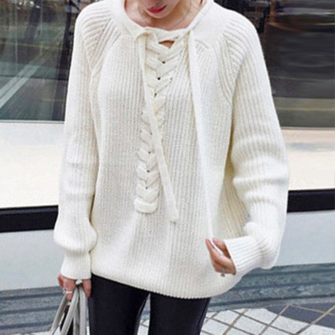 BELLA Lace-Up Front Knit Sweater - White