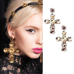 Large Gold Baroque Cross Earrings
