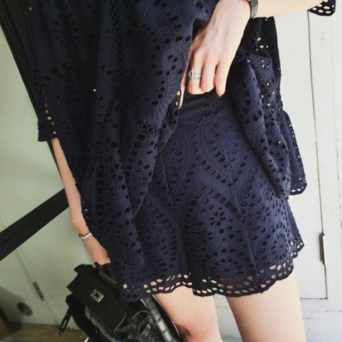 CASSIDY Embroidered Shorts- Midnight Navy