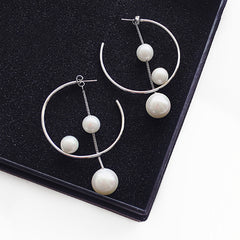 Circle Hoop Pearl Pendant Earrings