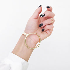 Circle Latch Bangle - Gold